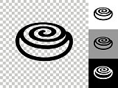 Cinnamon Bun Icon on Checkerboard Transparent Background. This 100% royalty free vector illustration is featuring the icon on a checkerboard pattern transparent background. There are 3 additional color variations on the right..