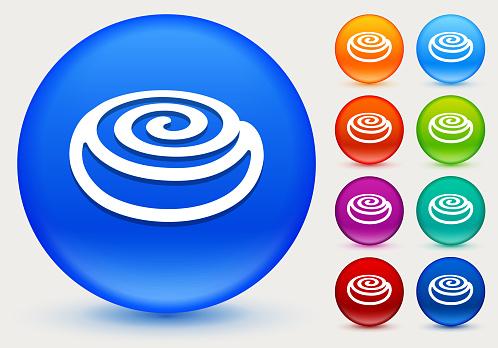 Cinnamon Bun Icon on Shiny Color Circle Buttons