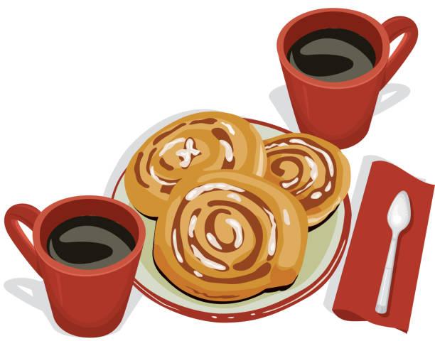 Cinnamon Buns and Coffee, Breakfast vector art illustration