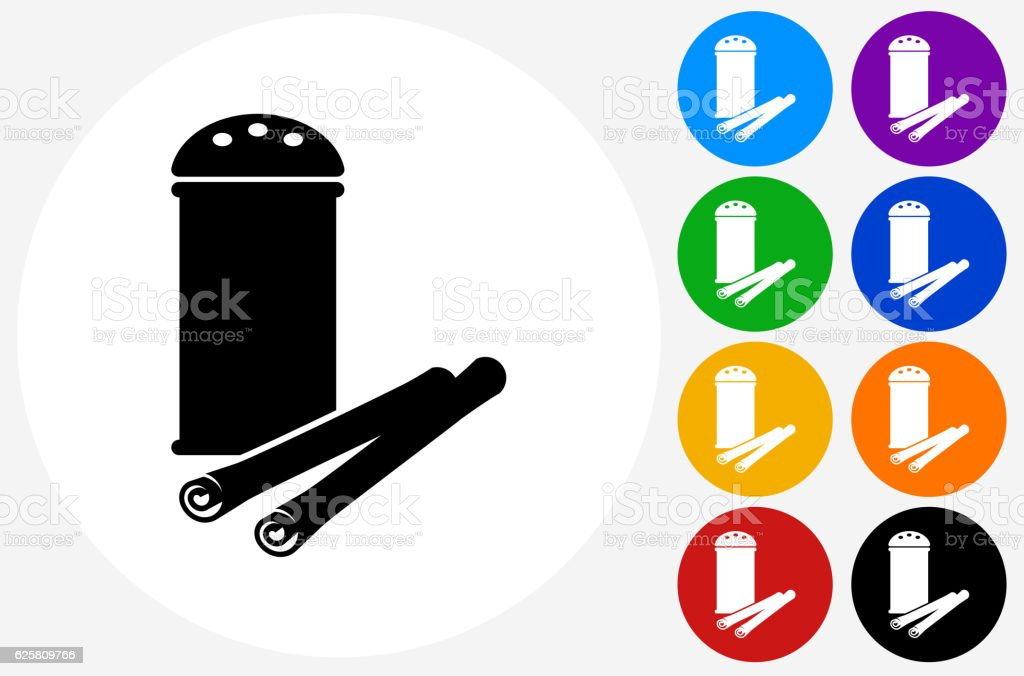 Cinnamon Icon on Flat Color Circle Buttons vector art illustration