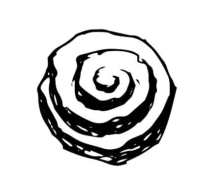 Cinnamon roll hand drawn vector illustration
