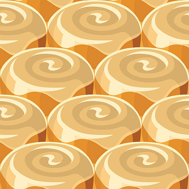 cinnamon roll seamless background pattern - cinnamon roll stock illustrations, clip art, cartoons, & icons