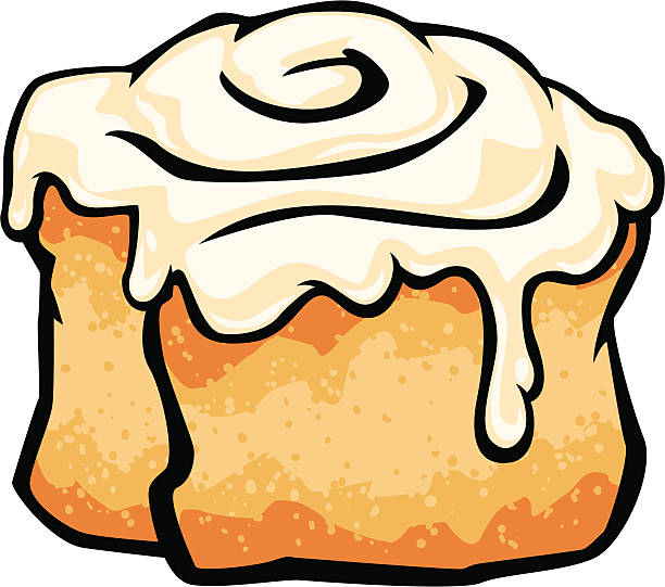 cinnamon roll with frosting - cinnamon roll stock illustrations, clip art, cartoons, & icons