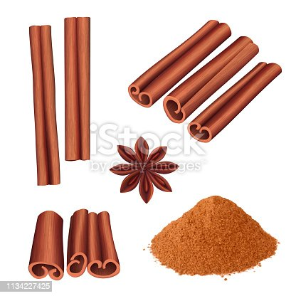 Cinnamon spice. Herbs dessert aromatic food stick cinnamon bark vector illustration. Aromatic cinnamon, ingredient for dessert, spice cooking