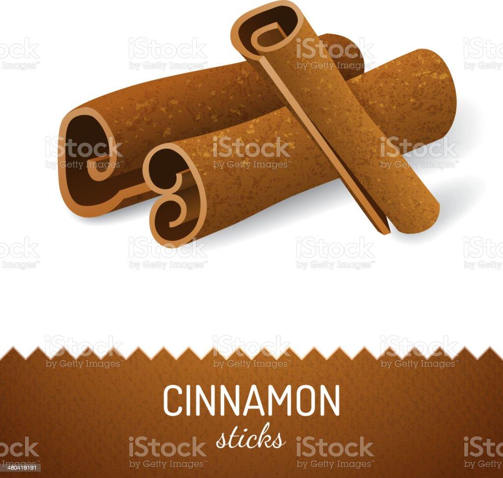 Cinnamon sticks vector art illustration