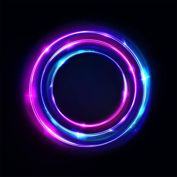 ilustrações de stock, clip art, desenhos animados e ícones de circle abstract background, glowing neon lights, round portal. vector. pink blue and purple glow rings. circular light frame, ultraviolet. - storm effects