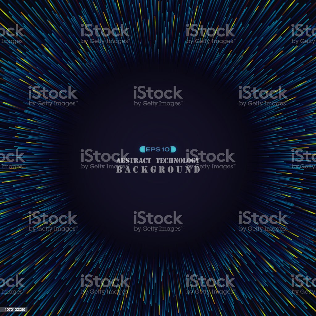 Circle Abstraction Of Futuristic Science Blue Orange Color