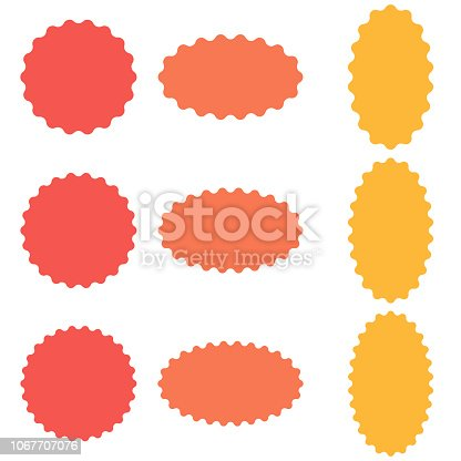 Circle and oval badge sticker, starburst speech bubbles, vector sticker with wavy edges, badge template
