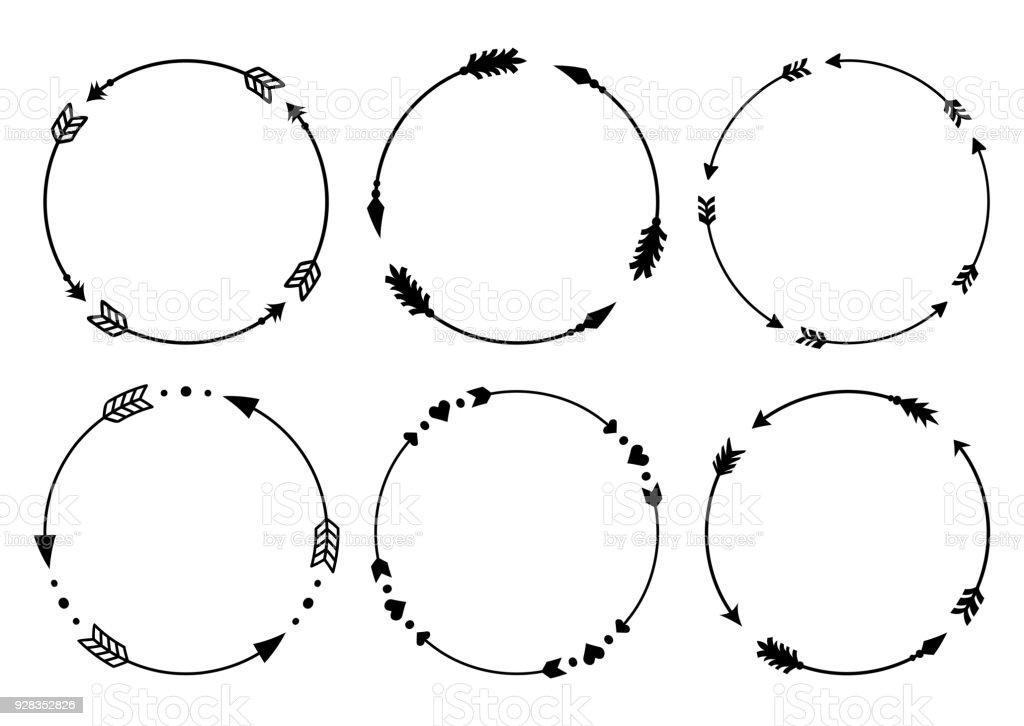 Circle Arrow Frames For Monograms Arrows In Boho Style ...