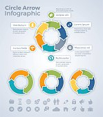 Circle arrow chart, graph and infographic symbols. EPS 10 file. Transparency effects used on highlight elements.