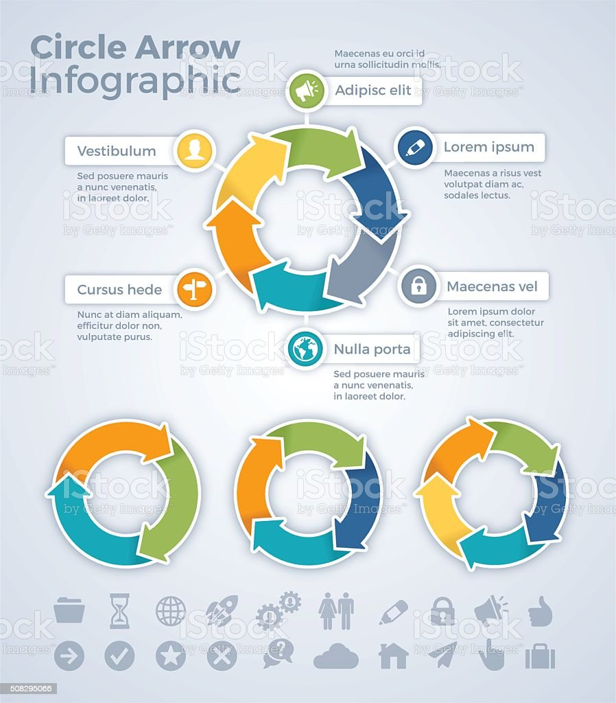 Circle Arrow Infographic vector art illustration