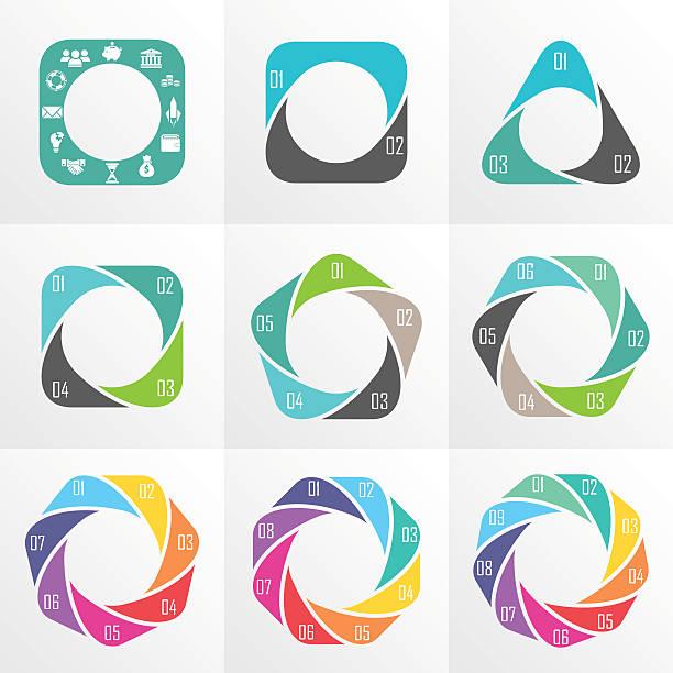 stockillustraties, clipart, cartoons en iconen met circle arrows for infographic. - achthoek