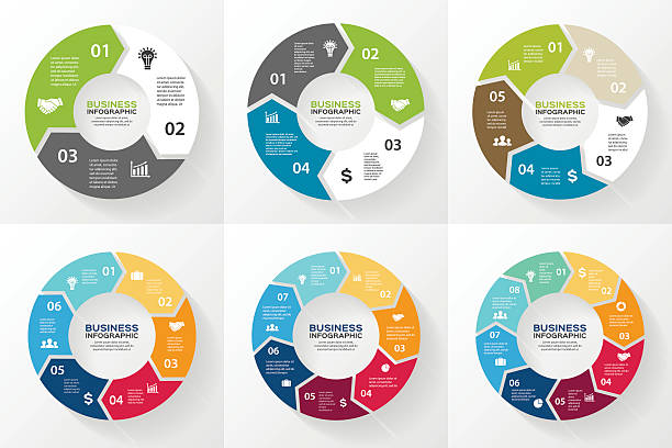 circle arrows infographic, diagram, options. - infographic stock illustrations