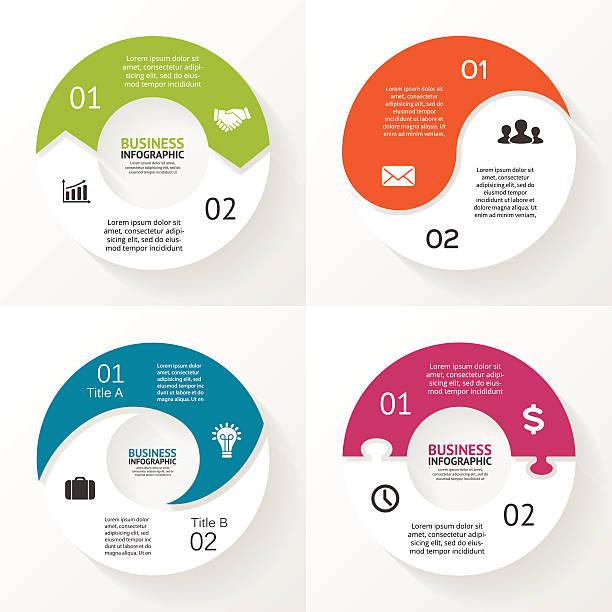 ilustrações, clipart, desenhos animados e ícones de quebra-cabeça de círculo setas infográficos, diagrama, passos, duas opções - dois objetos