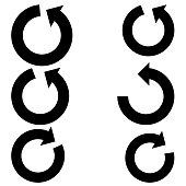 Circle arrows set .  Black color Six items