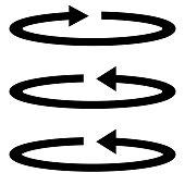 Circle arrows set .  Black color Flat style