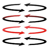 Circle arrows set .  Black and red color
