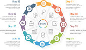 Circle arrows - infographic template with eight elements, steps or options, workflow or process diagram, vector eps10 illustration