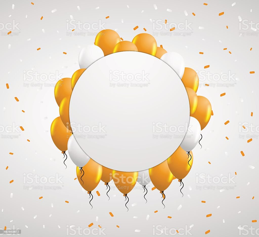 circle badge and orange balloons vector art illustration