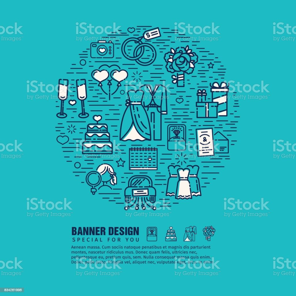 Circle Banner With Decor Wedding Line Icon On Blue Background Design Template Web Banner For Bride Checklist Flyer With Pattern Art Symbol For Marriage Planning Vector Stock Illustration Download Image Now