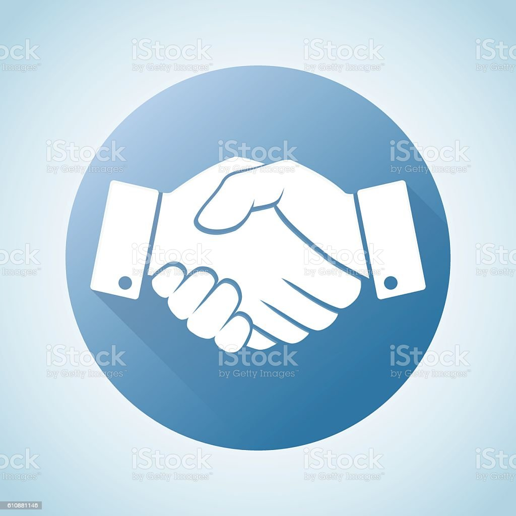 Circle blue icon handshake. Background for business and finance vector art illustration
