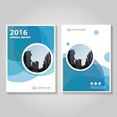Circle Blue Vector annual report Leaflet Brochure Flyer template design, book cover layout design, Abstract blue presentation templates