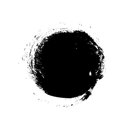 Circle brush stroke isolated on white background.