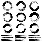 Set of circle paint brush strokes. Vector design elements. Isolated grunge circles black on white background.