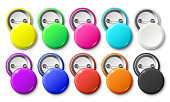 Circle button badge. Round pinned badges tag, metal pinback buttons and colorful pin label. Glossy plastic button, realistic brooch pins. Colorful isolated vector mockup icons set