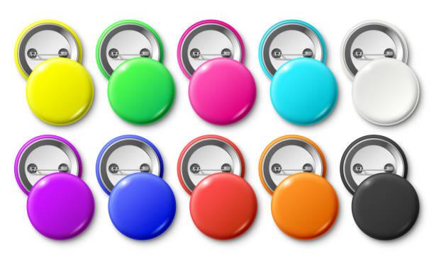 ilustrações, clipart, desenhos animados e ícones de emblema do botão de círculo. rodada derrotou emblemas tag, botões de metal pinback e maquete de vetor isoladas realista de rótulo pino colorido - pin