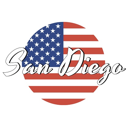 Circle button Icon of national flag of The United States of America with red and blue colors and inscription of city name: San Diego in modern style. Vector EPS10 illustration.