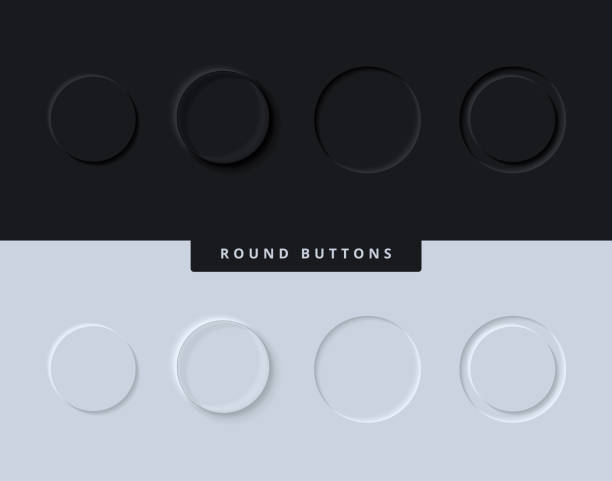 Circle Button Icons for User Interface in Modern and Clean Skeuomorphism or Neumorphism UI / UX Style in Light and Dark Mode for Mobile App or Website Design vector art illustration