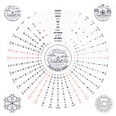 Stylish circular calendar for year 2017.