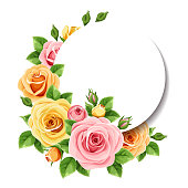 Vector circle card with pink, orange and yellow roses and green leaves.