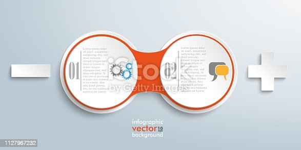 Infographic design with circle chain on the gray background. Eps 10 vector file.