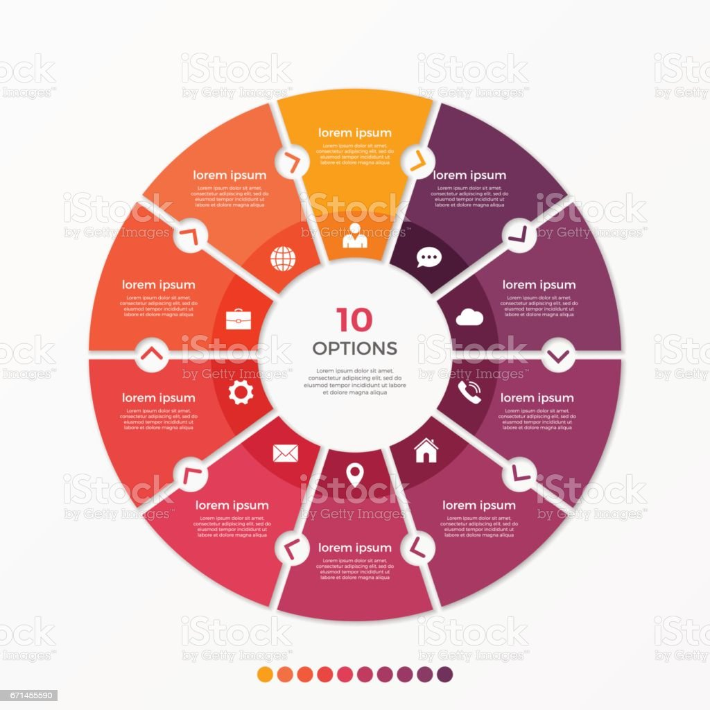 Circle chart infographic template with 10 options vector art illustration