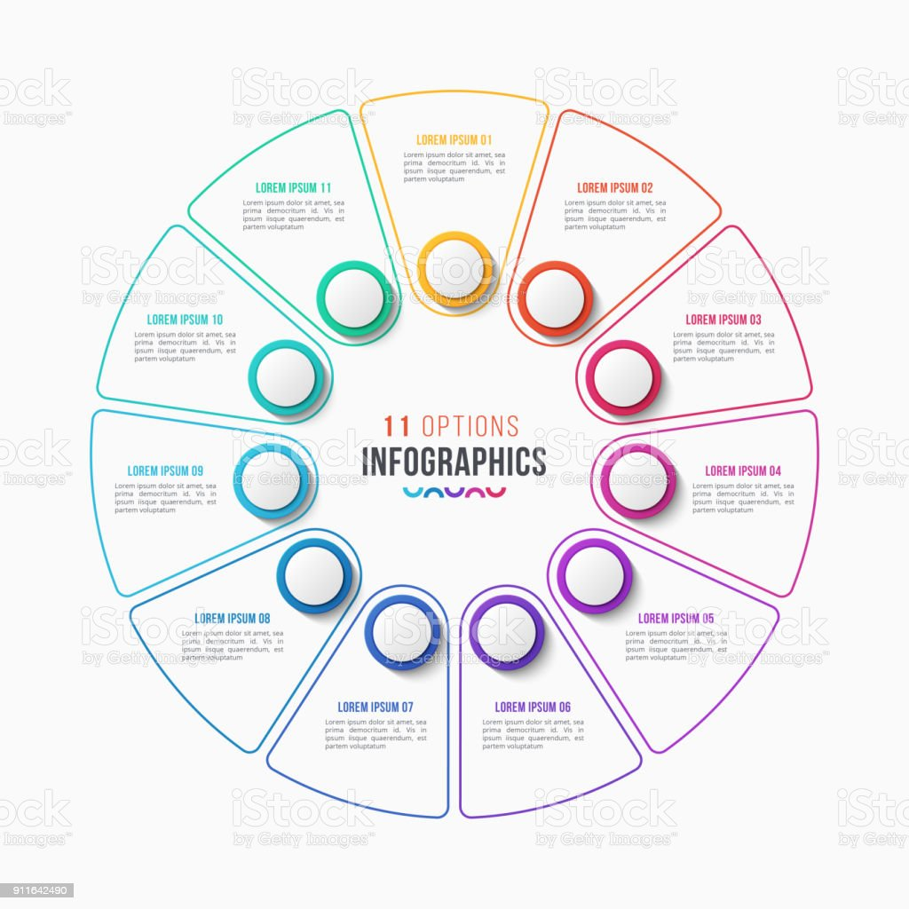circle chart infographic template with 11 options