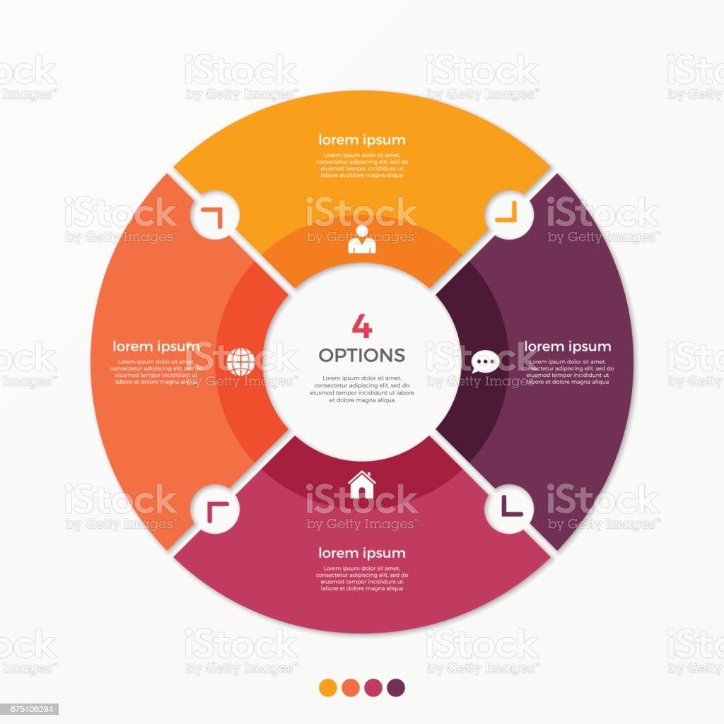 Daire grafiği Infographic Şablon 4 seçenekleri ile. royalty-free daire grafiği infographic Şablon 4 seçenekleri ile stok vektör sanatı & bağlantı'nin daha fazla görseli