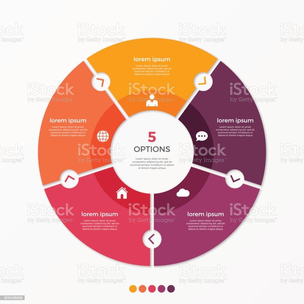 Daire grafiği Infographic Şablon 5 seçeneği ile. royalty-free daire grafiği infographic Şablon 5 seçeneği ile stok vektör sanatı & bağlantı'nin daha fazla görseli