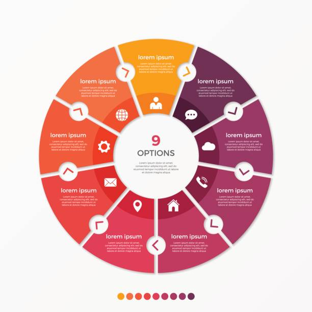 원형 차트 infographic 템플릿을 9 옵션 - 구 stock illustrations