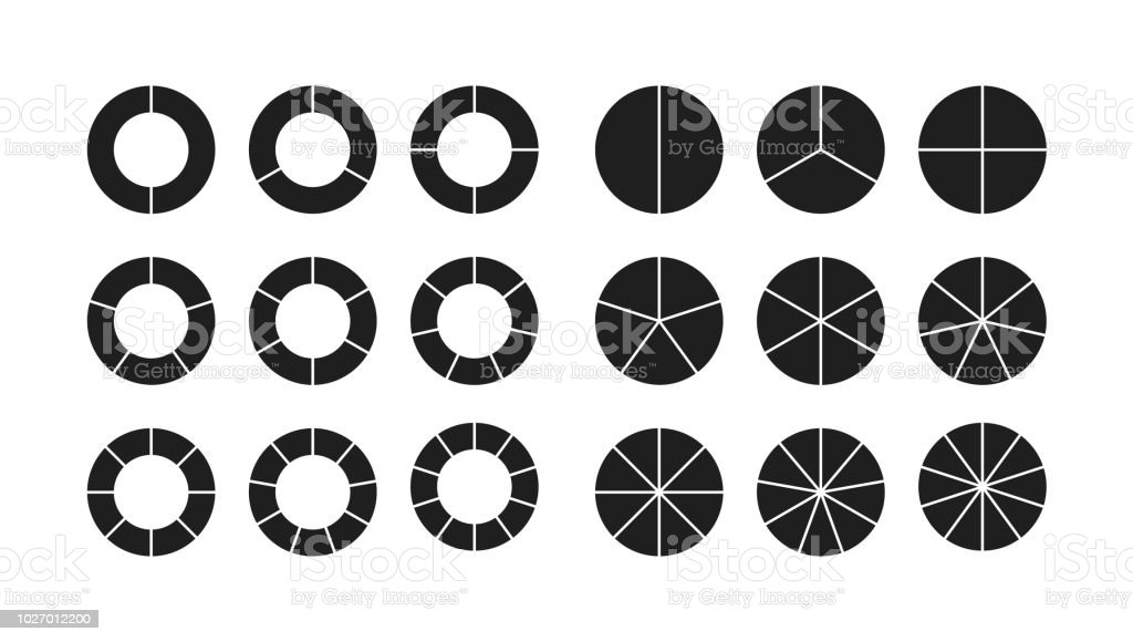 circle chart section segments set royalty-free circle chart section segments set stock illustration - download image now