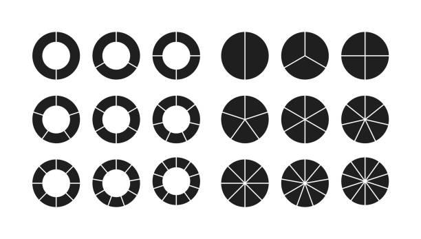 zestaw segmentów przekroju wykresu okręgowego - część stock illustrations