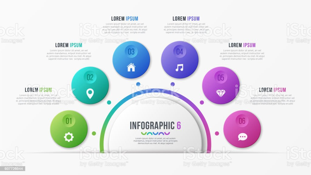 circle chart template with 6 options vector design for infographics