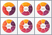 Circle chart templates with 3 4 5 6 7 8 options. Vector design for infographics, presentations, reports, layouts, projects, visualization Global swatches