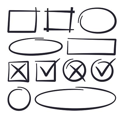 Circles selecting and check box hand drawn line items.