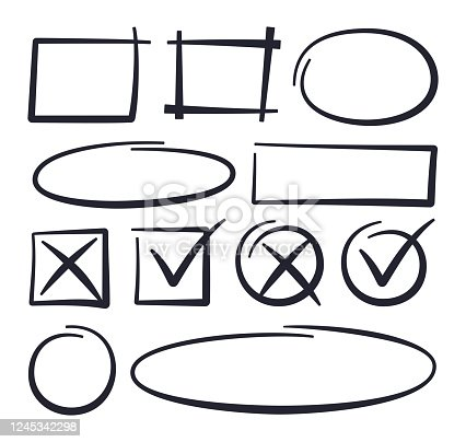Circles selecting and check box hand drawn line items.