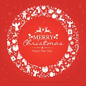 A christmas wreath made with christmas icons on red background  there is text, snowflakes and glitter effect. Eps10. Contains transparent and blending mode objects.