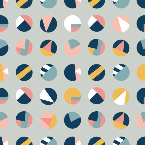 Circle collage seamless vector pattern. Contemporary collage of dots. Paper cut out style. Modern abstract background pink coral blue gold white. Use for kids, fabric, decor, digital paper, decor vector art illustration