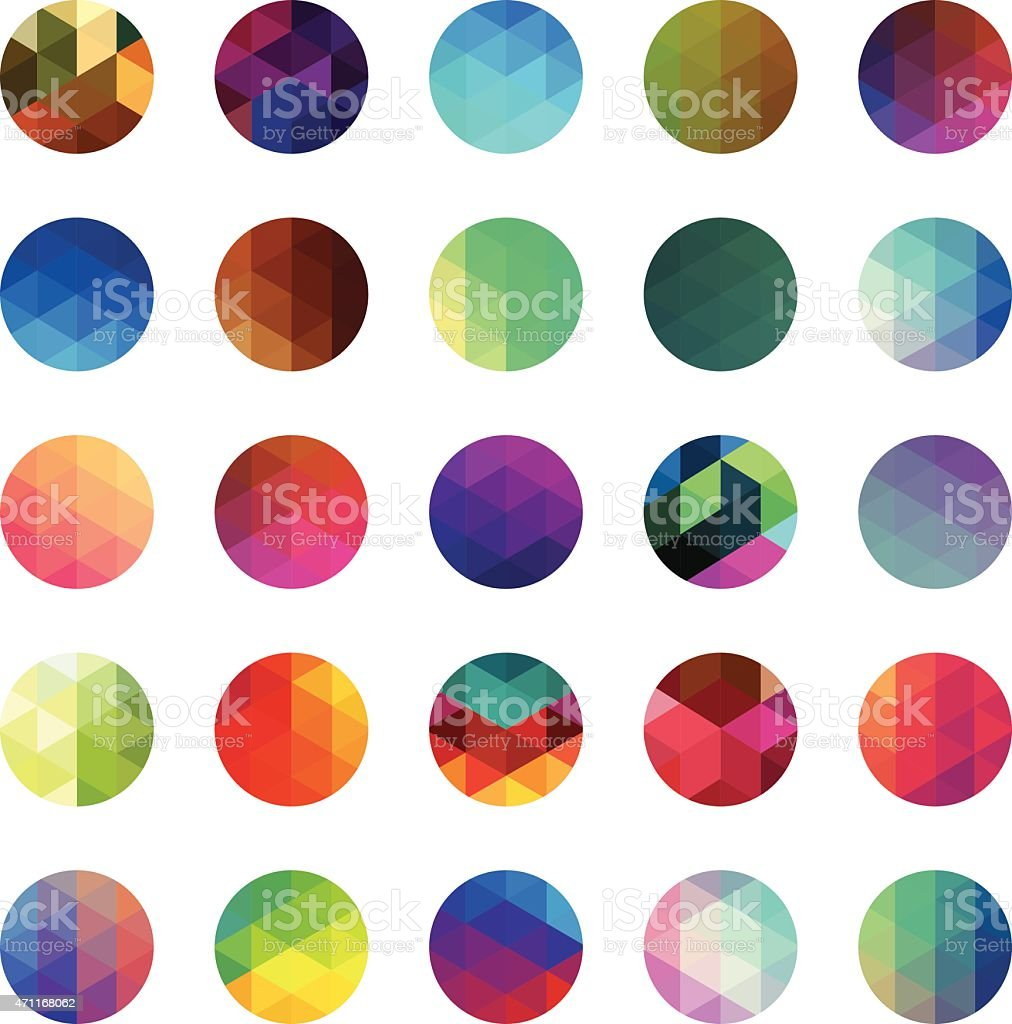 Circle colourful mosaic buttons vector art illustration