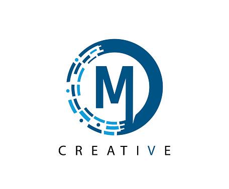 Circle Data M Letter Logo Design.